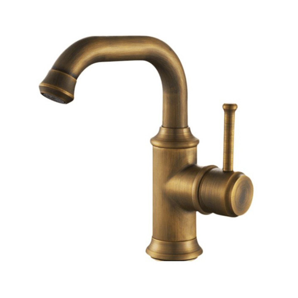 B Neilyn Bathroom Vintage Antique Retro Wash Basin Faucets Tap Solid Full Brass Bathroom Sink Basin Mixer Taps Antiques Brass   Black Ceramics Handle Retro Style Faucet Deck Mounted Water Taps ( color   B )