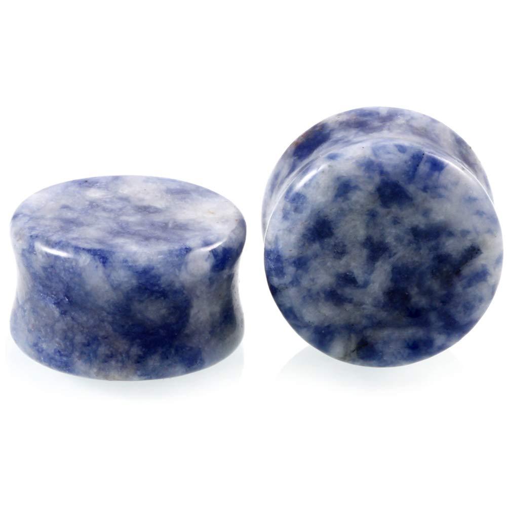 HQLA 1 Pair Blue Aventurine Organic Natural Stone Double Flared Flesh Tunnels Ear Plugs Gauges Stretcher Expander