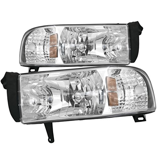 AJP Distributors Headlights Lights Lamps For Dodge Ram 1500 2500 3500 1994 1995 1996 1997 1998 1999 2000 2001 2002 94 95 96 97 98 99 00 01 02 (Chrome Housing Clear Lens Amber Reflector)