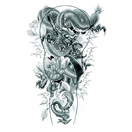 GGSELL Halloween Tattoo for men and women black and white dragon with flowers temporary tattoo stickers