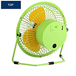 Kupx 6inch Battery Operated Portable Fan Usb Desk Mini Fan with Usb Power Bank Charger 5600mah (usb output green)