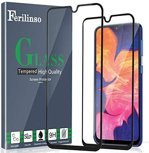 Ferilinso [2 Pack] Screen Protector for Samsung Galaxy A10E /A20E Screen Protector, [Full Glue][Full Cover] Tempered Glass Case Friendly Protective Film (Black)