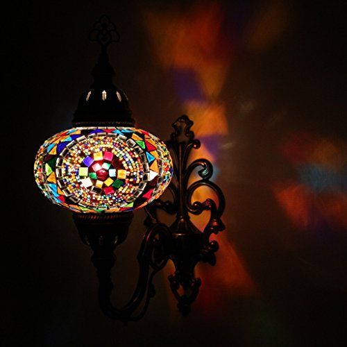 Mosaic Sconce Light (Multicolor Handmade Moroccan Turkish Ottoman Style Mosaic Wall Sconce Lamp with Large Size Globe)