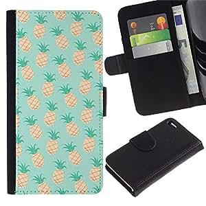 Be Good Phone Accessory // Caso del tirón Billetera de Cuero Titular de la tarjeta Carcasa Funda de Protección para Apple Iphone 4 / 4S // pineapple mint 420 weed cannabis