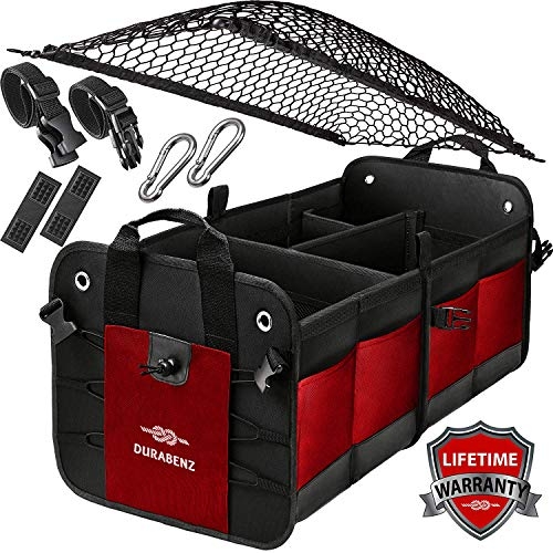 (Durabenz Trunk Organizer with Covering Net, Attachable Non-Slip Pads, and Stainless Hooks, Red-Black)