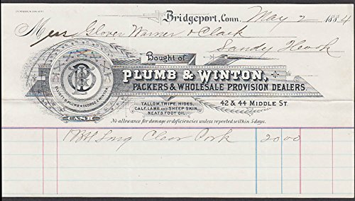 Down & Winton Packers Provision Dealers Bridgeport CT invoice 1884 Sandy Hook