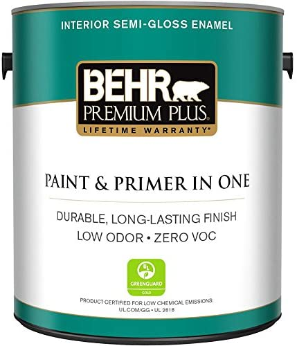 Amazon Com Behr Premium Plus 1 Gal Ultra Pure White Semi Gloss Enamel Zero Voc Interior Paint And Primer In One Home Improvement