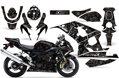 One Industries Suzuki Graphics (2004-2005 Suzuki GSX R600/R750 AMRRACING ATV Graphics Decal Kit-Reaper-Black)