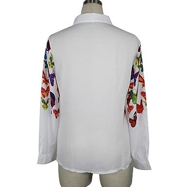 DEELIN Camisa De La Gasa De La Mariposa Delgada Coreana De La Manera De Las Mujeres De Manga Larga Camisa De Las SeñOras Camisa Casual Chaqueta De Verano Y ...