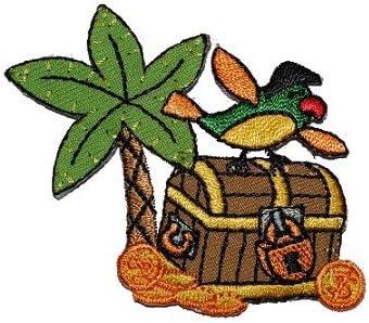 Alles Meine De Gmbh Schatztruhe 6 8 Cm 5 7 Cm Bügelbild Aufnäher Applikation Patch Piraten Pirat Spielzeug