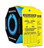 Accuform TAR718 Tags By-The-Roll Inspection and Status Tags, Legend''SCAFFOLD INSPECTION'', 6.25'' Length x 3'' Width x 0.010'' Thickness, PF-Cardstock, Black on Yellow (Pack of 100)