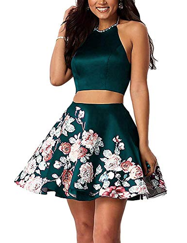 Aurora Bridal Women's 2 Piece Floral Homecoming Dresses 2018 Short Prom Gown Custom Size Teal