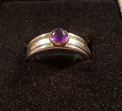 Elegant Sterling Silver Spin Ring with Amethyst Gem. Worry in style! (Silver Sterling Spin Ring Spinning)