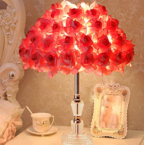 Lamp Beauty Sleeping - RUIDA Table Lamp, Rose Shade Desk Lamps, Crystal Glass Holder For Bedroom Lamps, Led Reading Light, Bedside Lamps (Party Home Decor Gift For Adults)G14 2700k 500Lm 6W E26 Bulb Plug Power No USB (Pink)