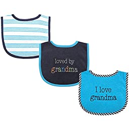 Luvable Friends 3 Piece Drooler Bibs with Fiber Filling for Boys, I love Grandma