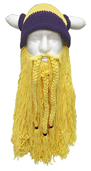 89eb0521365 Amazon.com  Viking Hat with Removable Beard Knitted Novelty Hat  Clothing