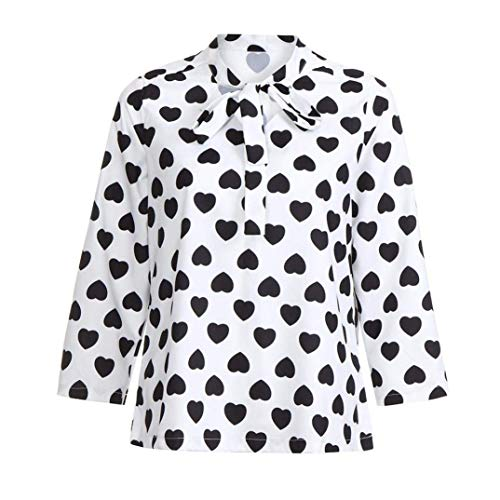 Bureau T Coeur Pull Casual Vêtements Manches Blouse Cravate Élégant Travail Pour Imprimé Mode Blanc Les À Zhrui Tops Lacés Femmes Automne Longues Femmes Col Bureau Rond shirt F6xI8T