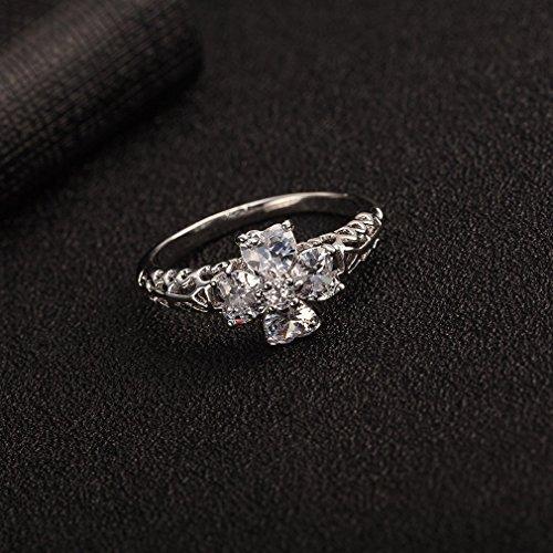 YAZILIND 18K Cluster Elégant Plaqué Argent Belle Fleur Bague cristal blanc Femmes Bijoux cool