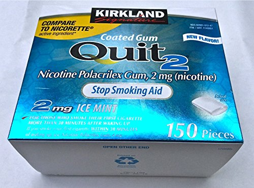 Kirkland Signature Ice Mint Quit Smoking Gum, 2 mg, 150 Count