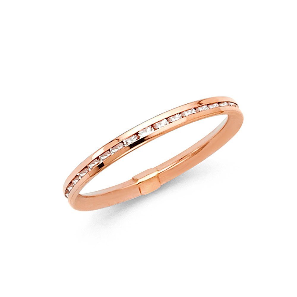 14k Rose Gold 2mm Channel Set Eternity Wedding Band - Size 5