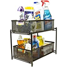 Sorbus 2 Tier Organizer Baskets with Mesh Sliding Drawers, Brown