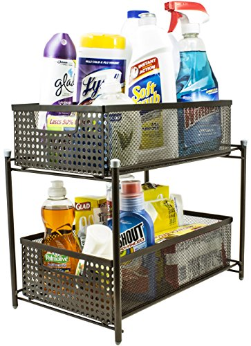 Sorbus 2 Tier Organizer Baskets with Mesh Sliding Drawers, (Five Basket Pull Out Pantry)