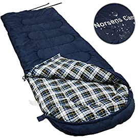 NORSENS Camping Sleeping Bags - Lightweight Compact Sleeping Bag for Adults, Kids - 3 Season Warm & Cold Weather Sleeping Bags for Hiking,Backpacking (Navy) 1 Comfortable & Warm: Our Norsens sleeping bag is designed for 3 seasons(spring, autumn, and winter), the temperature range is between 32°F-68°F/ 0°C-20°C( comfort in 50°F/10°C ). Keep you warm with 4.6 lbs hollow cotton fiber and high-loft insulation design. Feel soft and ventilated thanks to breathable cotton filling and skin-friendly flannel liner. Spacious: Perfect for adults up to 6'5, 190lbs. Roomy enough for tall guys and active sleepers who like to move around. Durable: S-shaped quilted design prevents filling from moving around, increasing warmth and lifespan of the sleeping bag. Anti snag metal zips ensure repeated smooth using.