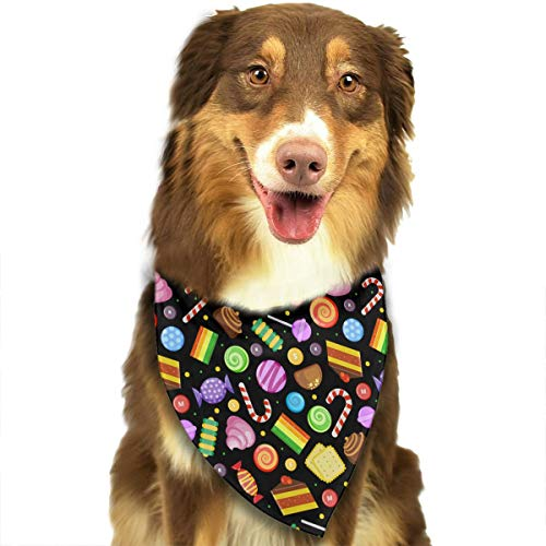 CZSJzd Candy Cookies Chocolate Lollipop Sweets Fashion Dog Bandana Pet Accessories Easy Wash Scarf