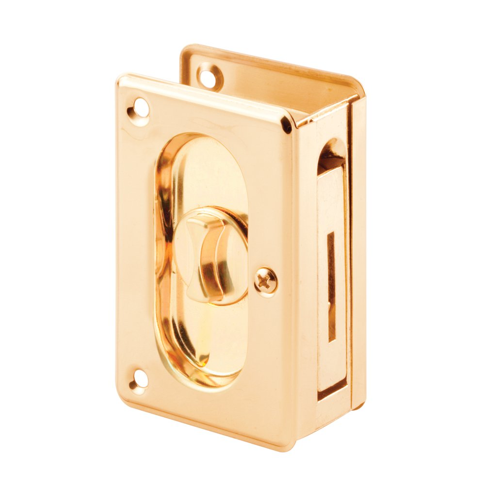 Slide-Co 162779 Pocket Door Privacy Lock with Pull, 3-3/4-Inch, Polished Brass
