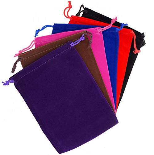 Pack of 6 Mix Color Soft Velvet Pouches w Drawstrings for Jewelry Gift Packaging, 15x20cm