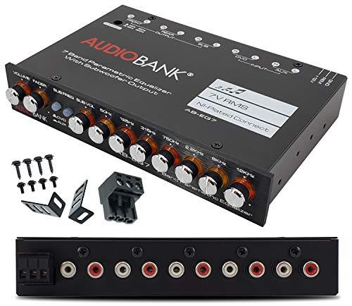 Audiobank EQ7 1/2 Din 7 Band Car Audio Equalizer EQ w/Front, Rear + Sub Output