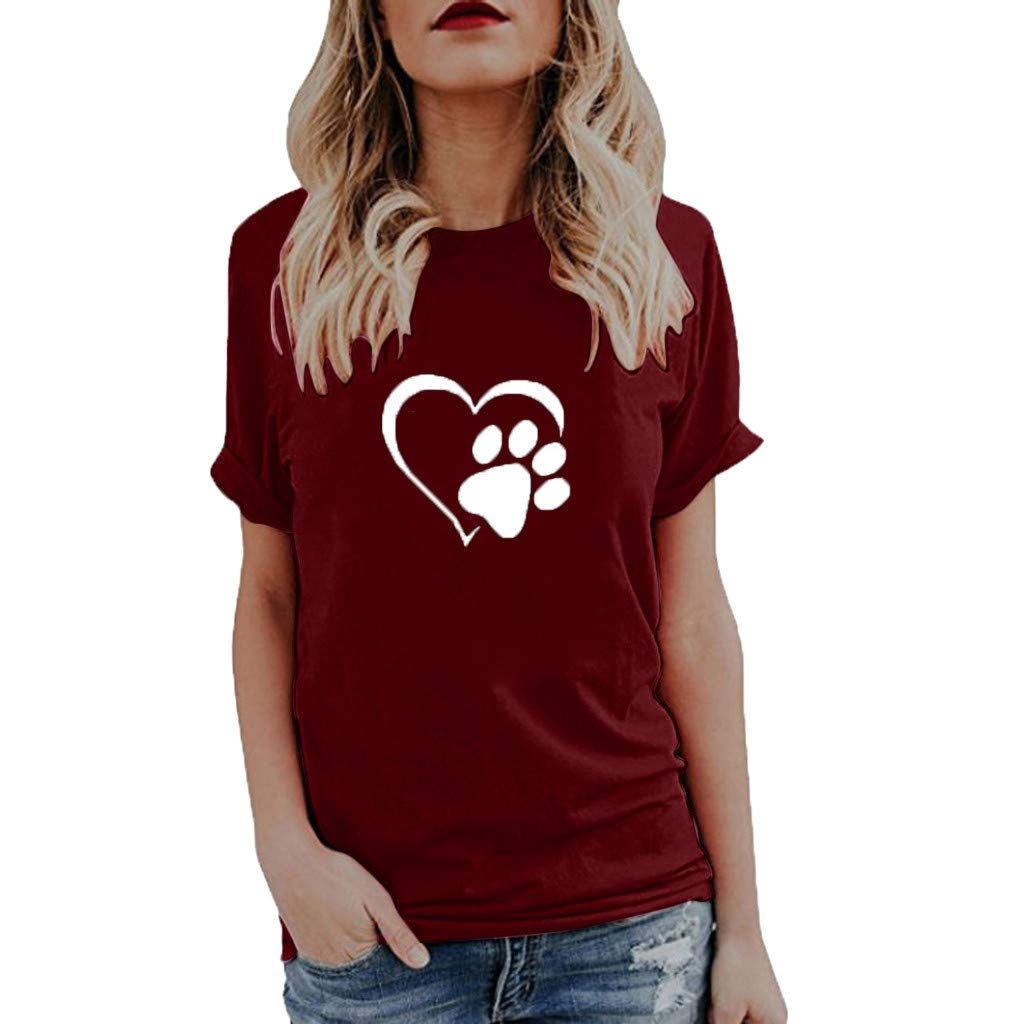Willow S Womens 2019 Summer Fashion Sport Cute Print Tops O-Neck Short Sleeve Loose T-Shirts Tops Blouse Wine