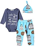 3Pcs Outfit Set Baby Boy Funny Letter Print Milk and Cookies Bodysuit with Hat (Blue, 6-12 Months)