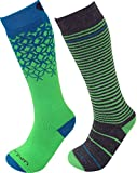Lorpen Unisex Youth T2 Kids Merino Ski Socks-2 Pack, Green, Small
