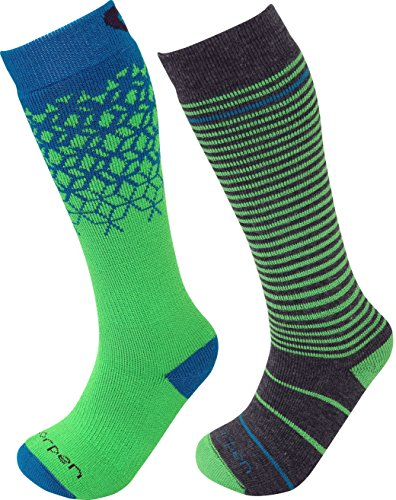 - Lorpen Unisex Youth T2 Kids Merino Ski Socks-2 Pack, Green, X-Small