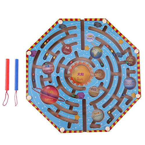 (Maze Toy Game,Labyrinth Ball Maze Puzzle Toy,MeiLiio Family Reduce Stress Magnetic Maze Ball Classic Game Sequential Puzzles Toy for Kids,Children,Teens,Young Adults,Adults,Senior-Sun Shape)