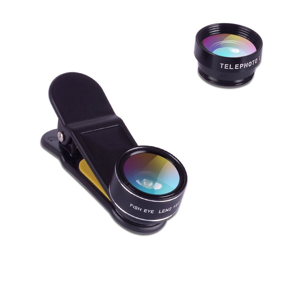 Nanle Universal 5 in 1 Clip-On Camera Lens Kit, Wide Angle Lens and 15X Macro Lens, 2X Telescope Lens + CPL Lens