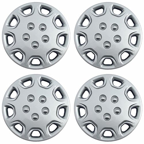 Hubcaps 14 inch Wheel Covers - (Set of 4) Hub Caps for 14in Wheels Rim Cover - Car Accessories Silver Hubcap Best for 14inch Cars Standard Steel Rims - Snap On Auto Tire Replacement Exterior Cap (1997 Wheel Eclipse Mitsubishi)
