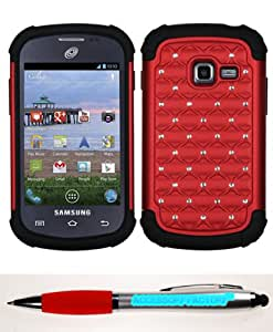 Accessory Factory(TM) Bundle (Phone Case, 2in1 Stylus Point Pen) SAMSUNG R740C (Galaxy Discover) Red Black Luxurious Lattice Dazzling TotalDefense Protector Cover