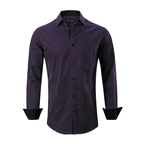 Alex Vando Mens Casual Button Down Shirts Long Sleeve Print Men Shirt (Polka ()