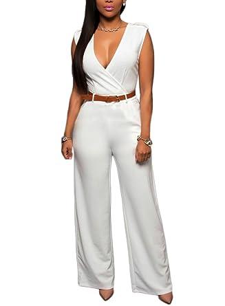 Femmes Col en V Rompers sans Manches Taille Haute Combinaisons Jumpsuit  Longues Pantalons Overall Blanc S f4b69f0bb541