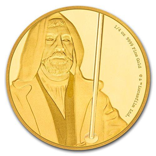 2017 NZ Niue 1/4 oz Gold $25 Star Wars Obi-Wan Kenobi Pf (Box & COA) Gold Brilliant Uncirculated