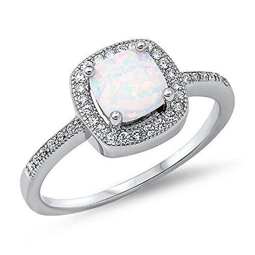 Blue Apple Co. Accent Halo Heart Promise Ring Princess Lab Created White Opal Cubic Zirconia Sterling Silver,Size-7