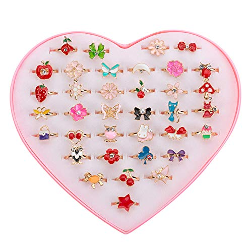 JUNWEISPIN 36 PCS Kids Little Girl Jewelry Jewelry Adjustable Rings Peach Heart Shaped Box Girl Play House Toys and Dress Up Rings Random Shapes and Colors Little Girl Gifts (A1) by JUNWEISPIN