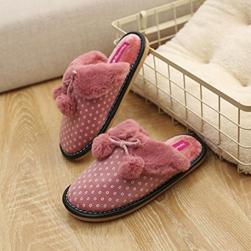 Wensltd Clearance! Women Winter Bowknot Indoor Warm Slippers Anti-Slip Soft Shoes Red