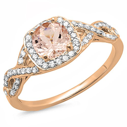 (Dazzlingrock Collection 14K Round Morganite & White Diamond Ladies Swirl Split Shank Halo Engagement Ring, Rose Gold, Size 7.5)