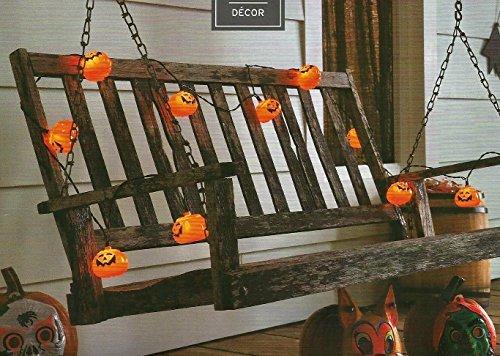 Halloween 10 Orange Colored Pumpkin Jack-O-Lantern Light Set ()