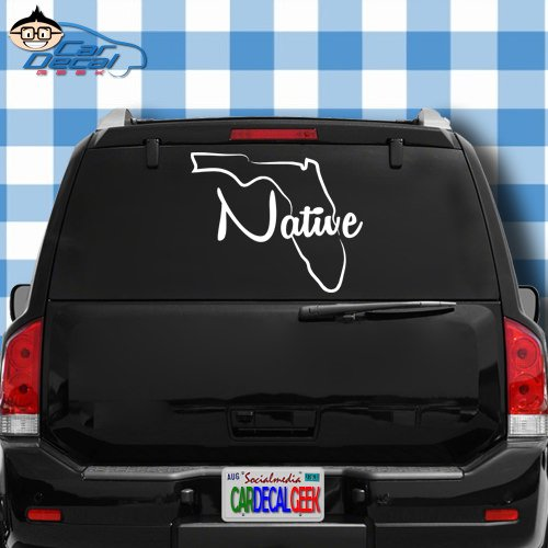 Car Decal Geek Florida Native Vinyl Decal Sticker Bumper Cling for Car Truck Window Laptop MacBook Wall Cooler Tumbler | Die-Cut/No Background | Multi Sizes/Colors White, 20
