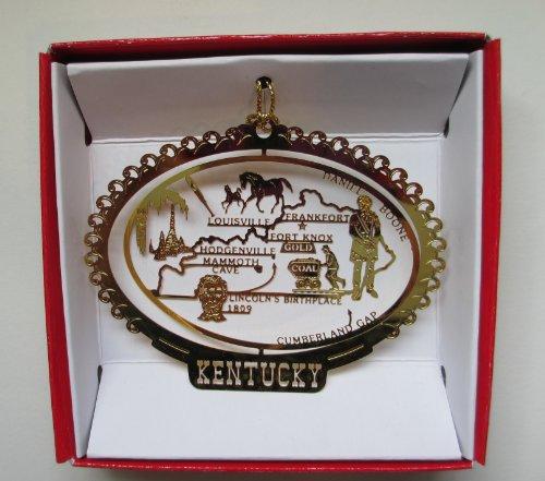 Kentucky State Brass Christmas ORNAMENT Souvenir Gift by Nations Treasures (Souvenir Nation)