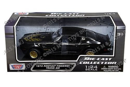 New 1:24 W/B AMERICAN CLASSICS COLLECTION - BLACK 1973 PONTIAC FIREBIRD TRANS AM WITH GOLD FIRE BIRD DECAL AND GOLD WHEELS Diecast Model Car By MOTOR MAX (Pontiac Firebird Model compare prices)